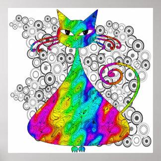 Poster psicodélico Trippy del gato