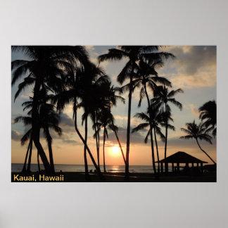 Poster - puesta del sol de la playa de Hawaii