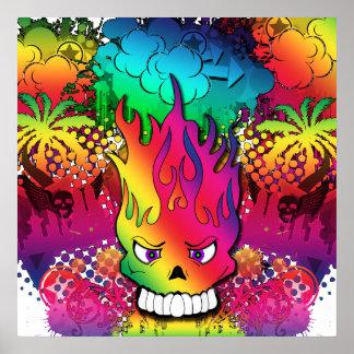 Poster punky del Grunge del cráneo de la diversión Póster