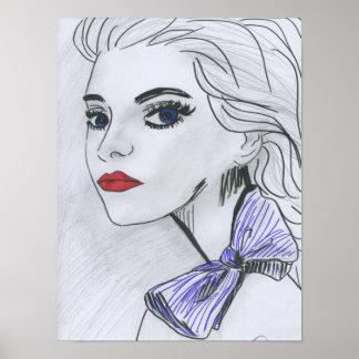 Poster Purple Bow Illustration