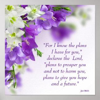 Poster--Purple Flowers-Vert-Jer 29:11 Poster