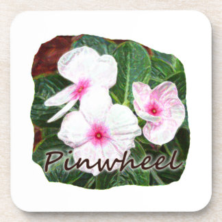 Poster Purple Pinwheel Flowers w text Coaster