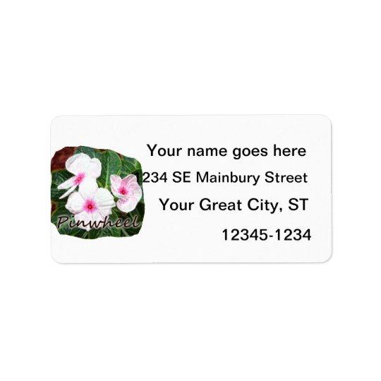Poster Purple Pinwheel Flowers w text Label
