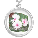 Poster Purple Pinwheel Flowers w text Personalized Necklace