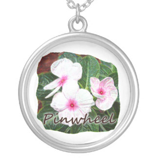 Poster Purple Pinwheel Flowers w text Silver Plated Necklace