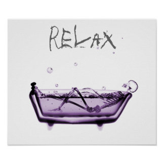 Poster- Purple Relax X-Ray Skeleton Bath Time Poster