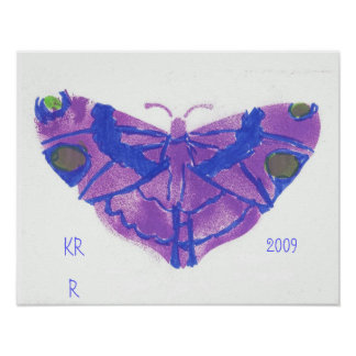 Poster púrpura bonito de la mariposa