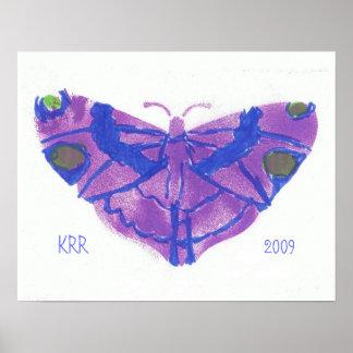 Poster púrpura bonito de la mariposa - modificado