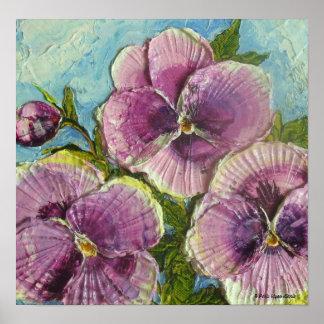Poster púrpura de la bella arte de los pensamiento