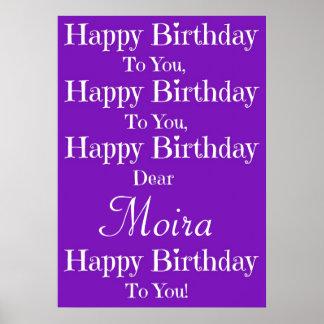 Poster púrpura de la canción del feliz cumpleaños