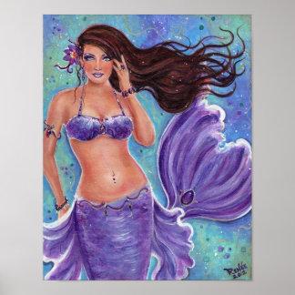 Poster púrpura de la sirena de la fantasía por Ren