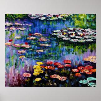 Poster púrpura de los lirios de agua de Monet