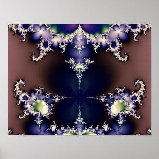 Poster púrpura del arte del fractal de los cristal