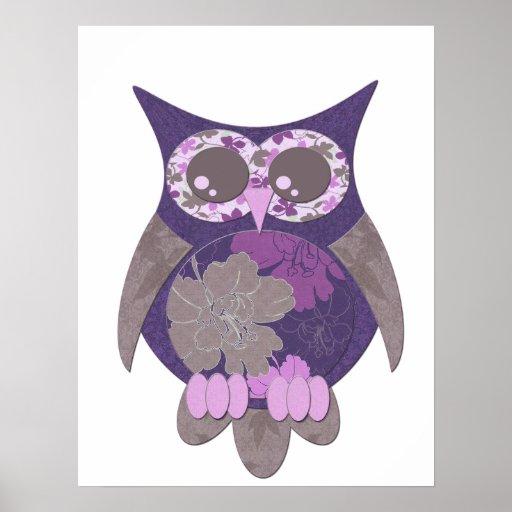 Poster púrpura del búho del hibisco
