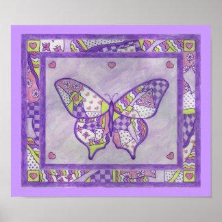 Poster púrpura del edredón de la mariposa