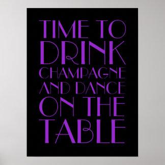 Poster púrpura del fiesta de las aletas del baile