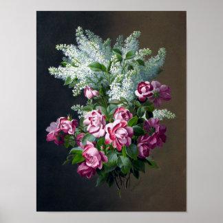 Poster púrpura del rosa del vintage y blanco de la
