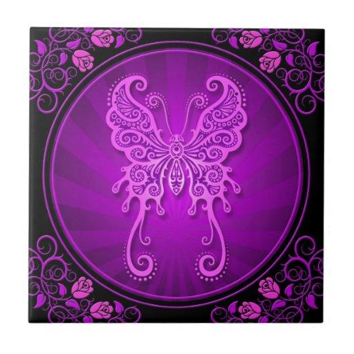 Poster púrpura delicado de la mariposa azulejo cuadrado pequeño