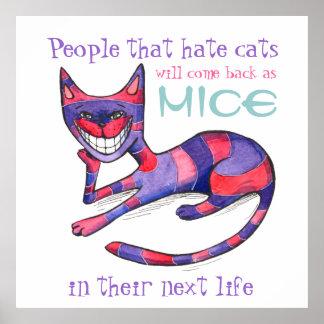 Poster Púrpura-Rosado divertido del gato
