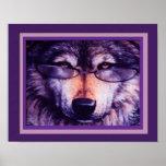 Poster púrpura solitario del lobo