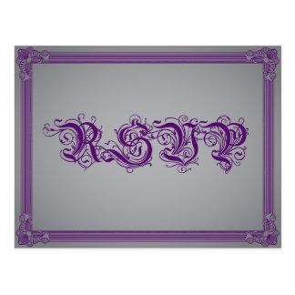 Poster púrpura y gris RSVP con la opción de la com Tarjeta Postal