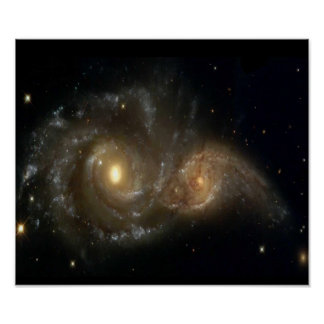 Poster que choca de dos galaxias espirales póster