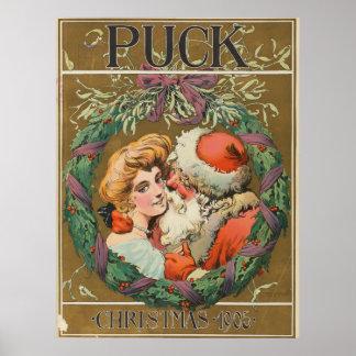 Poster que se besa 1905 de Papá Noel Momma