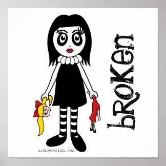 Poster quebrado de la muñeca del gótico