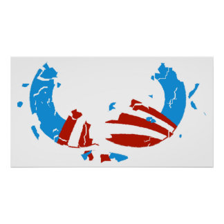 Poster quebrado del logotipo de Obama