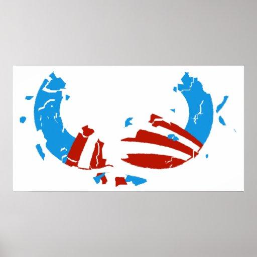 Poster quebrado del logotipo de Obama Póster