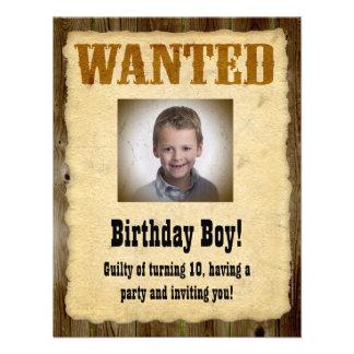 Poster querido personalizado bandido del cumpleañ comunicado personalizado