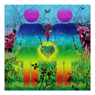 Poster Rainbow Grunge Love Abstract