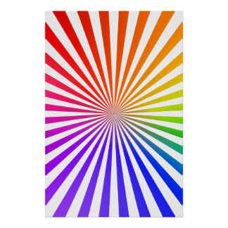 Poster: Rainbow Radial Pattern: Vector Drawing Poster