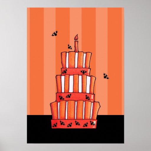 Poster rayado anaranjado de la torta de los palos