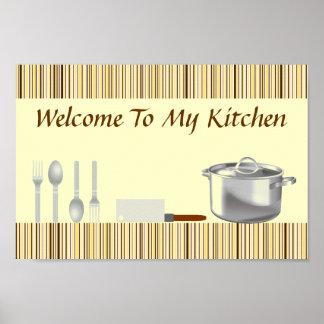 Poster rayado de la cocina de Brown y de la crema