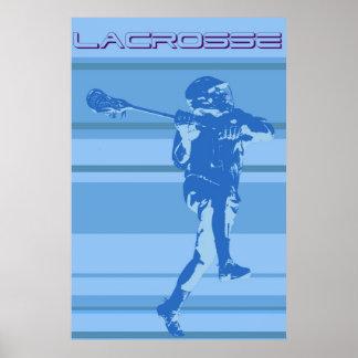 Poster rayado del lacrosse del vintage