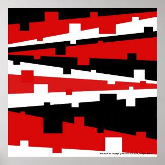 Poster rayado geométrico rojo
