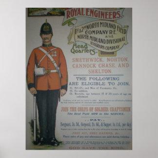 Poster real 1890 del reclutamiento de los ingenier