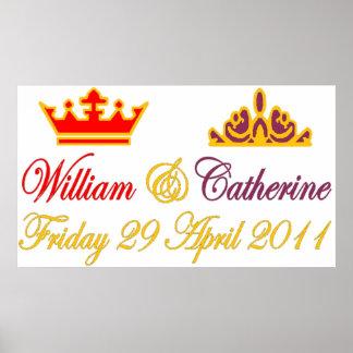 Poster real del boda de Guillermo y de Catherine