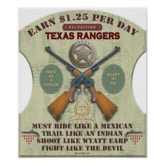 POSTER - RECRUITING TEXAS RANGERS 1887