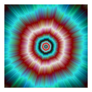 Poster  Red and Blue Exploding Doughnut