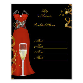 Poster Red Cocktail Menu Canvas Print