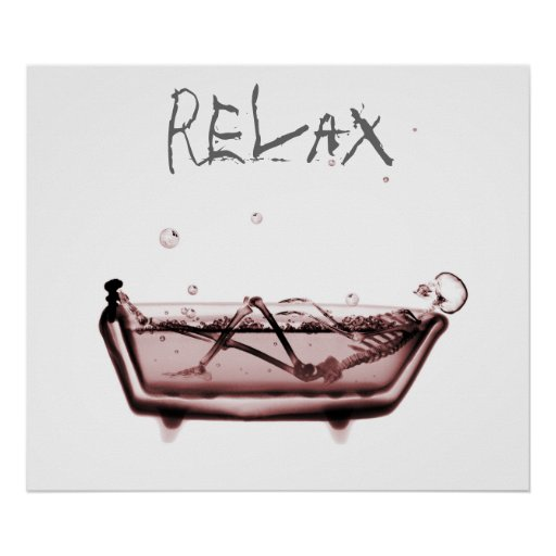 Poster- Red Relax X-Ray Skeleton Bath Time