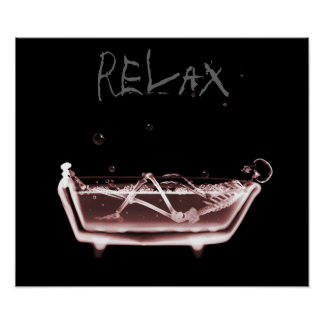 Poster- Red Relax X-Ray Skeleton Bath Time Poster