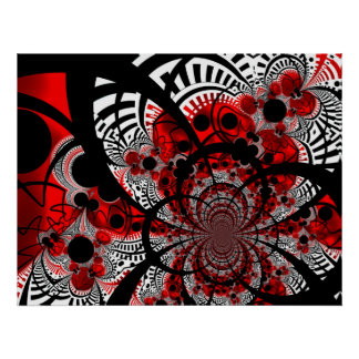Poster Red Ventra Twist Abstract Art