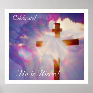 Poster religioso de Pascua - Jesús y cruz
