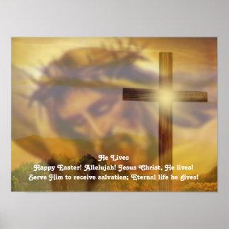 Poster religioso de Pascua - Jesús y oro cruzado