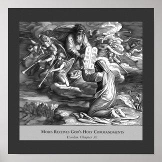 Poster religioso del vintage de los mandamientos póster