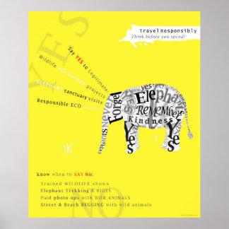 Poster responsable de la protección del elefante