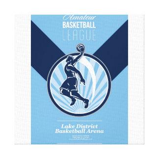 Poster retro aficionado de la liga de baloncesto impresiones en lona estiradas